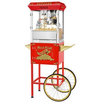 860-Watt 8 oz. Red Hot and Fresh Popcorn Machine with Cart