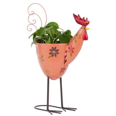 19 in. Pink Metal Eclectic Planter