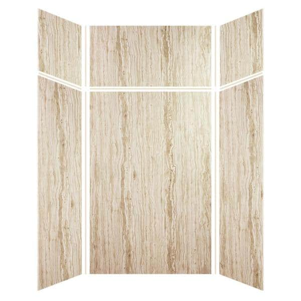 Transolid Expressions 48 In X 48 In X 96 In 4 Piece Easy Up Adhesive Alcove Shower Wall Surround In Sorento Ewkx484896 43 The Home Depot