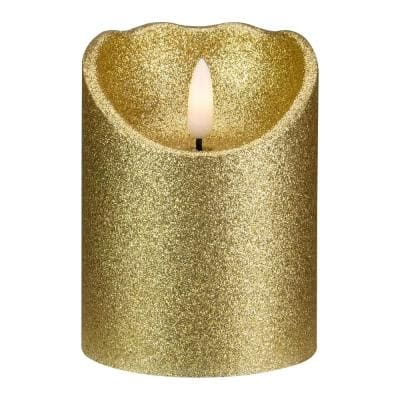4 in. Gold Glitter Flameless Battery Operated Christmas Decor Candle