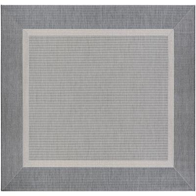 Recife Stria Texture Champagne-Grey 9 ft. x 9 ft. Square Indoor/Outdoor Area Rug