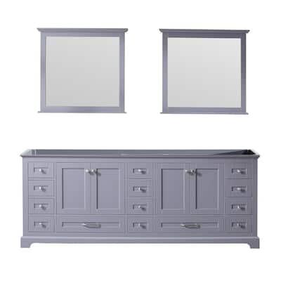 Dukes 84 Inch Double Bathroom Vanity Cabinet with Mirror in Dark Grey