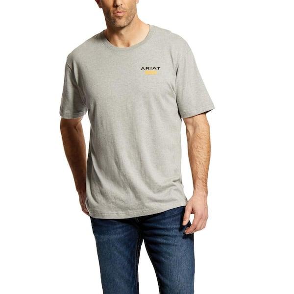 Men's Size Medium Heather Gray Rebar Cottonstrong Logo Short Sleeve Work T-Shirt