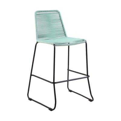 Shasta Armless 30 in UV Protected Outdoor Metal and Wasabi Colored Rope Stackable Barstool with Footrest