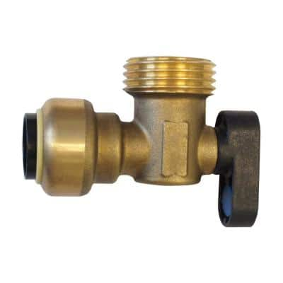 1/2 in. Brass Push-To-Connect x 3/4 in. Male Hose Thread 90-Degree Washing Machine Ball Valve