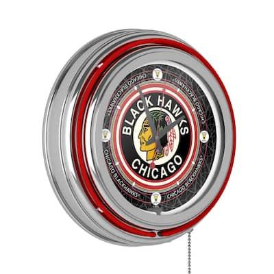 14 in. Vintage Chicago Blackhawks NHL Neon Wall Clock