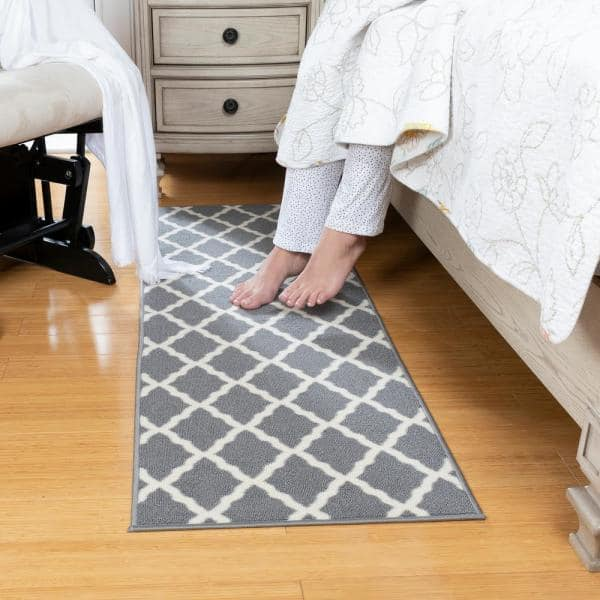 Ottomanson Glamour Collection Contemporary Moroccan Trellis Gray 2 Ft X 5 Ft Kids Runner Rug Pnk7023 20x59 The Home Depot