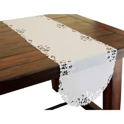 Arietta 15 in. x 54 in. White Embroidered Cutwork Table Runner