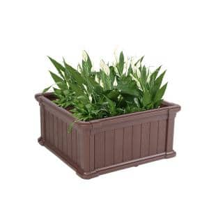 23.8 in. W x 23.8 in. D x 11.8 in. H Brown Plastic Square Raised Garden Bed