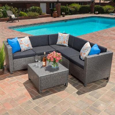 Puerta Dark Grey 6-Piece Wicker Outdoor Sectional Set with Black Cushions