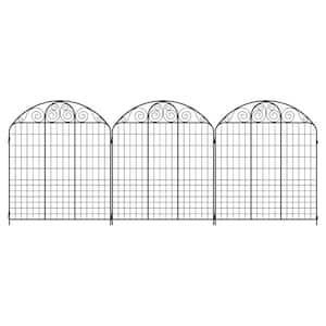 Rockdale 43.8 in. Black Steel Fence Panel (3-Pack)