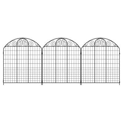 Rockdale 43.8 in. Black Steel Fence Panel (6-Pack)