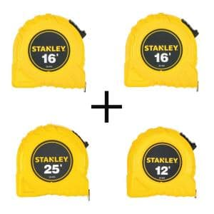 16 ft. x 3/4 in. Tape Measure (2-Pack) with Bonus 25 ft. x 1 in. Tape Measure and 12 ft. x 1/2 in. Tape Measure