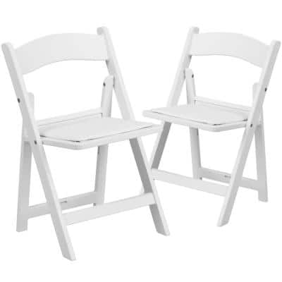 White Vinyl Seat with Resin Frame Kids' Folding Chair (2-Pack)