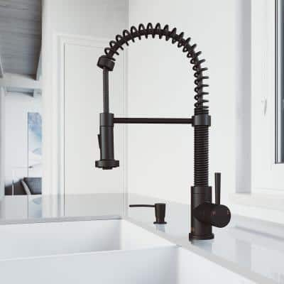 Edison Single-Handle Pull-Down Sprayer Kitchen Faucet with Soap Dispenser in Matte Black