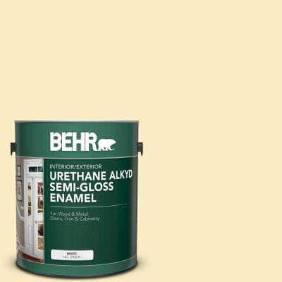 Behr 1 Gal 350a 3 Pale Sunshine Urethane Alkyd Semi Gloss Enamel Interior Exterior Paint 390001 The Home Depot