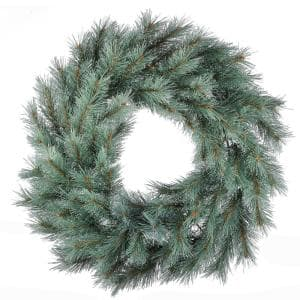 24 in. Frosted Ontario Blue Pine Artificial Christmas Wreath