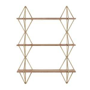 HDC 37in Hx27in Wx7in D Wood and Gold Metal Wall-Mount Bookshelf Deals