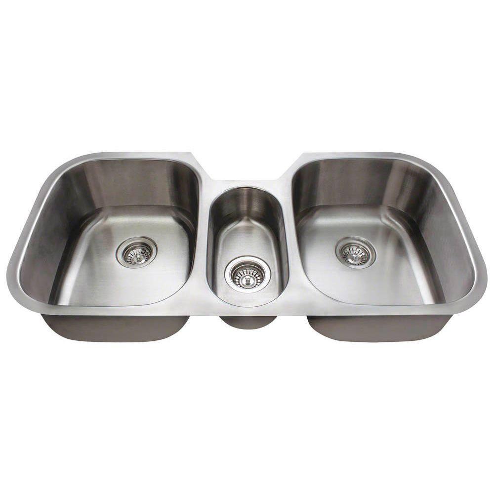 Polaris Sinks Undermount Stainless Steel 43 In Triple Bowl Kitchen Sink P1254 18 The Home Depot