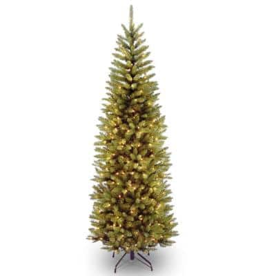 9 ft. Kingswood Fir Pencil Artificial Christmas Tree with Clear Lights