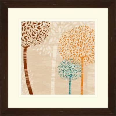 """17.75 in. x 17.75 in. """"Puffball Floral C"""" Framed Wall Art"""