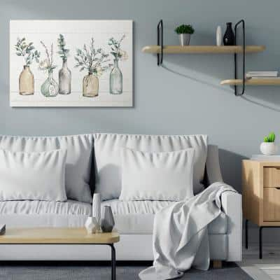 """36 in. x 48 in. """"Bottles And Plants Farm Wood Textured Design"""" by Anne Tavoletti Canvas Wall Art"""