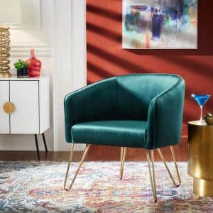 Gold Green Velvet Accent Chair