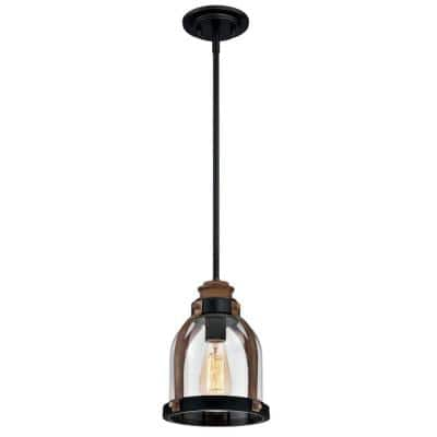 Cindy 1-Light Oil Rubbed Bronze and Barnwood Mini Pendant with Clear Seeded Glass Shade