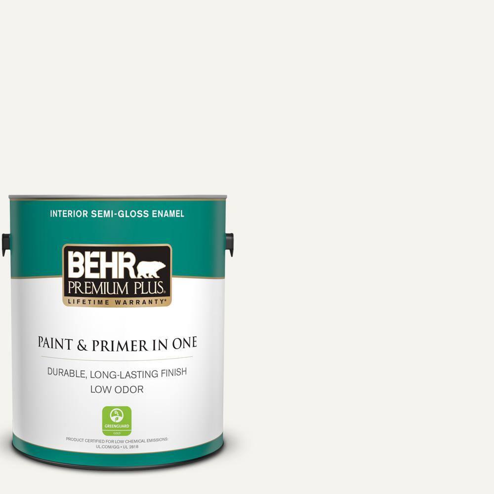 BEHR PREMIUM PLUS 1 gal. #YL-W15 Polar Bear Semi-Gloss Enamel Low Odor Interior Paint and Primer in One