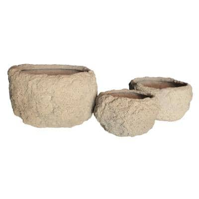 Nestable Volcanic Ash Rock Planters in A Natural Ash Finish (3-Pack)