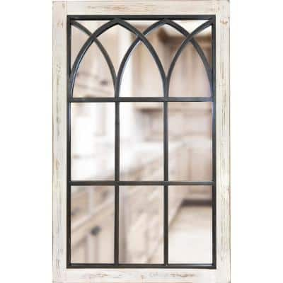 Medium Rectangle Distressed White Classic Mirror (37.5 in. H x 24 in. W)