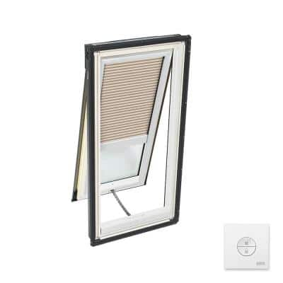 21 in. x 54-7/16 in. Solar Powered Venting Deck Mount Skylight with Laminated Low-E3 Glass & Beige Room Darkening Blind