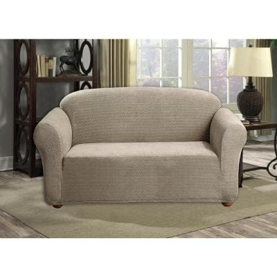 Hayden Water Resistant Taupe Fit Polyester Fit Loveseat Slip Cover