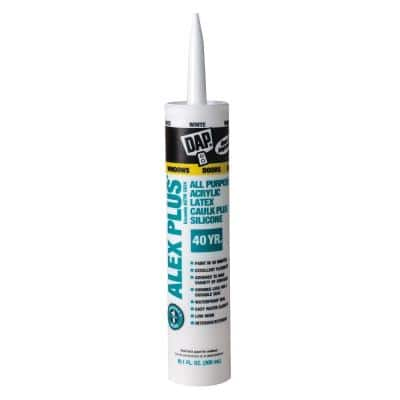 Alex Plus 10.1 oz. White Acrylic Latex Caulk Plus Silicone