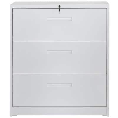 3-Drawer White Lateral File Cabinet Lockable Heavy Duty Metal File Cabinet