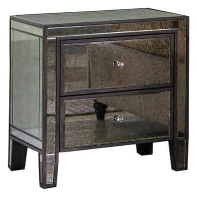 Thea 2-Drawer 26 in. H x 24 in. W x 20 in. D Gray Brown Antique Mirrored Nightstand