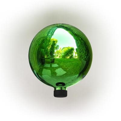 12 in. Tall Indoor/Outdoor Glass Gazing Globe Festive Yard Decor, Green