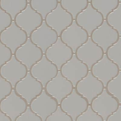 Gray Glossy Arabesque 11.53 in. x 9.65 in. x 10mm Glossy Porcelain Mesh-Mounted Mosaic Tile (15.46 sq. ft. / case)