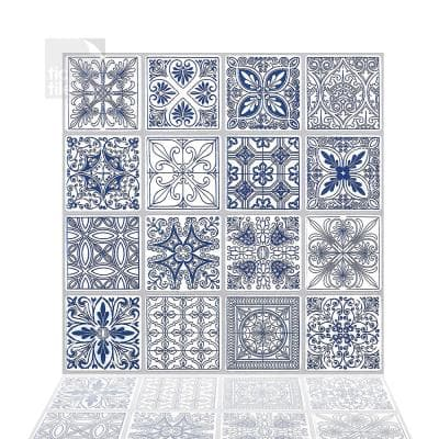Portuguese Blue 10 in. W x 10 in. H Peel and Stick Decorative Mosaic Wall Tile Backsplash (5 Tiles)