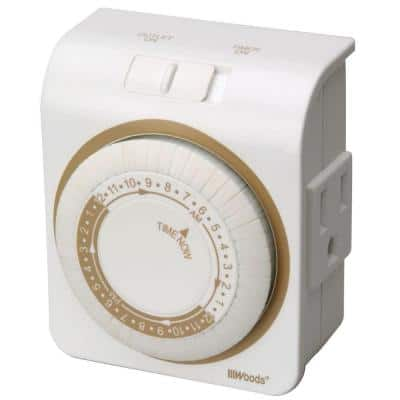 15-Amp 24-Hour Indoor Plug-In Lamp and Appliance Single-Outlet Mechanical Timer, White