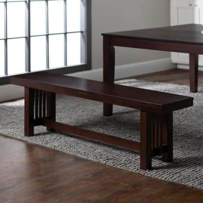 "60"" Transitional Wood Dining Entryway Bench - Cappuccino"