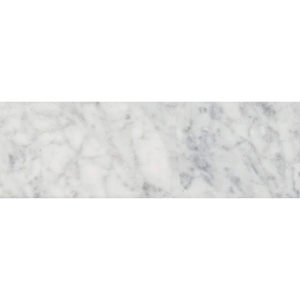 msi carrara white 4 in x 12 in polished marble floor and wall tile 5 sq ft case tcarwht412p the home depot