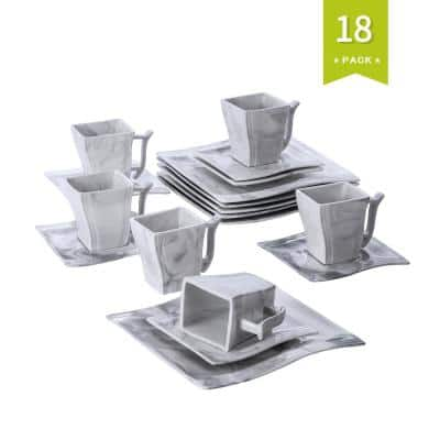 Series Flora 18-Piece Marble Grey Porcelain Dinnerware Set with 6-Dessert Plates,6-Cups and 6-Saucer (Service For 6)