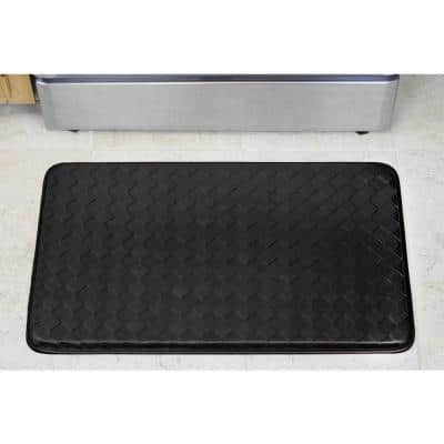Diamond Weave Faux-Leather Faux-Leather Black 18 in. x 30 in. Comfort Kitchen Mat