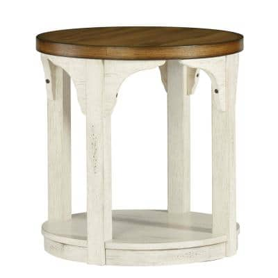 Wellington Place 24 in. Oak and Antique White Round End Table