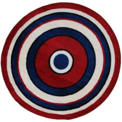 Fun Time Shape Concentric 2 4 ft. Round Area Rug