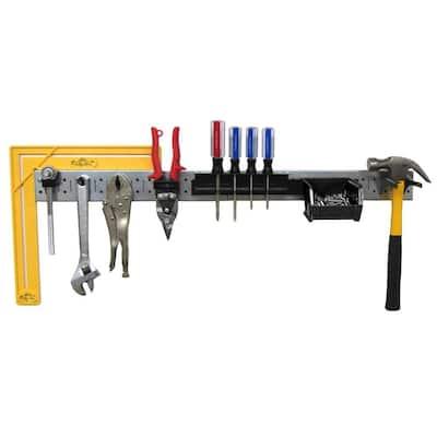 32 in. W Pegboard Tool Organizer Rail Strip Kit with Shiny Galvanized Steel Pegboard Strips