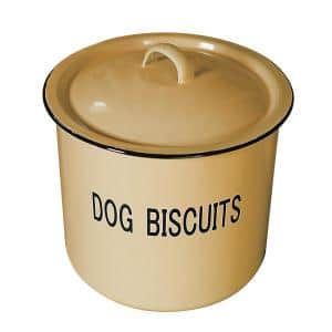 Yellow Metal Dog Biscuit Container with Lid and ''DOG BISCUITS'' Lettering