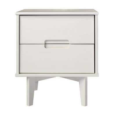 2-Drawer White Groove Handle Wood Nightstand