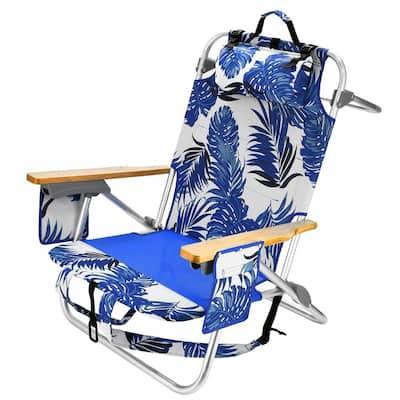 5-Position Lightweight Aluminum Material Frame Folding Backpack Beach Chair